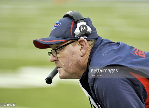 Chan Gailey Head Coach of the Buffalo Bills looks on during their game against the New York Jets at New Meadowlands Stadium on January 2 2011 in East...