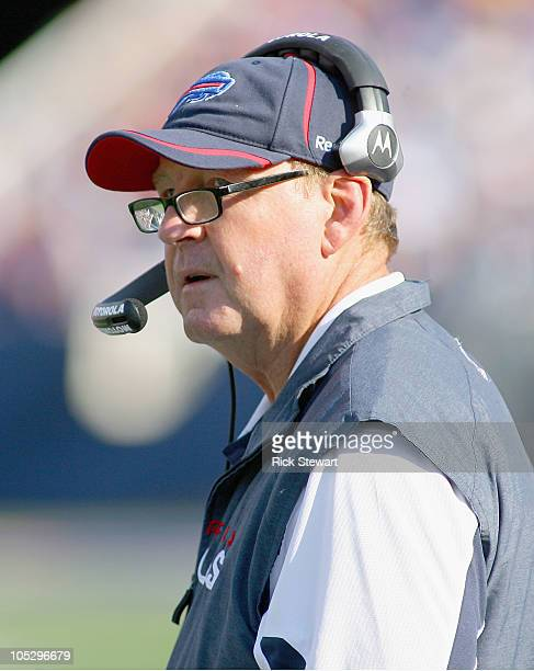 Chan Gailey head coach of the Buffalo Bills stands on the sidelines against the Jacksonville Jaguars at Ralph Wilson Stadium on October 10 2010 in...