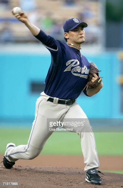 Chan Ho Park of the San Diego Padres pitches in the first inning against the Los Angeles Dodgers on July 25 2006 at Dodger Stadium in Los Angeles...
