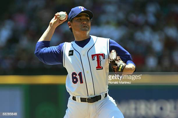 Chan Ho Park of the Texas Rangers pitches during the game with the Oakland Atheltics on July 24, 2005 at Ameriquest Field in Arlington in Arlington,...