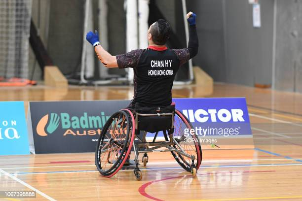 CENTRE GEELONG VICTORIA AUSTRALIA Chan Ho Yuen raise his arms in jubilation after winning the Wheelchair 2 Men's Single Finals match against Kim...