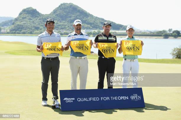 Chan Kim of the USA Michael Hendry of New Zealand Adam Bland of Australia and KyungTae Kim of South Korea pose after they qualified during the final...