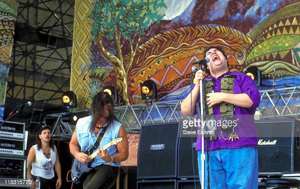 Chan Kinchla and John Popper of Blues Traveler during Woodstock '94 in Saugerties, New York - August 1994 in Saugerties, New York, United States.