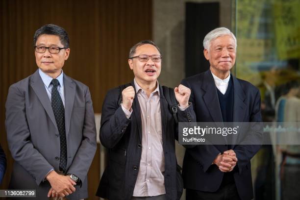 Chan KinMan Benny Tai YiuTing Chu YiuMing are seen posing for a photo after leaving court in Hong Kong China 10 April 2019 The Court has announced...