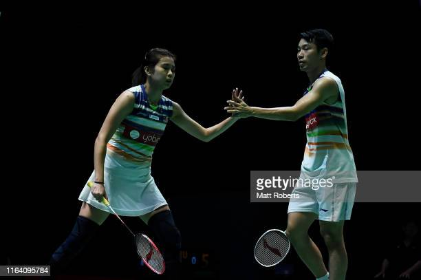 Chan Peng Soon and Goh Liu Ying of Malaysia celebrate in the mixed doubles match against Thom Gicquel and Delphine Delrue of France on day three of...