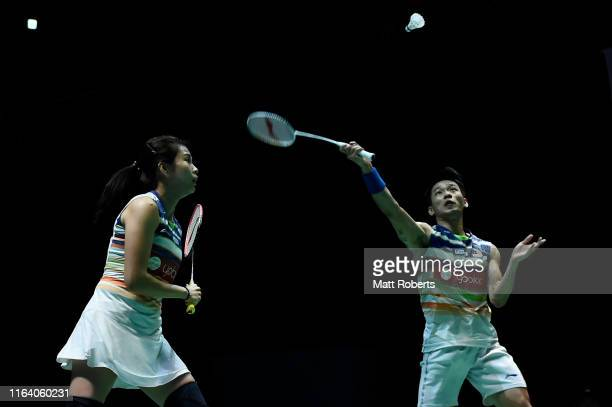 Chan Peng Soon and Goh Liu Ying of Malaysia compete in the mixed doubles match against Thom Gicquel and Delphine Delrue of Franceon day three of the...