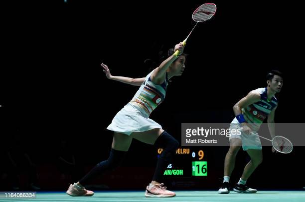 Chan Peng Soon and Goh Liu Ying of Malaysia compete in the mixed doubles match against Thom Gicquel and Delphine Delrue of France on day three of the...