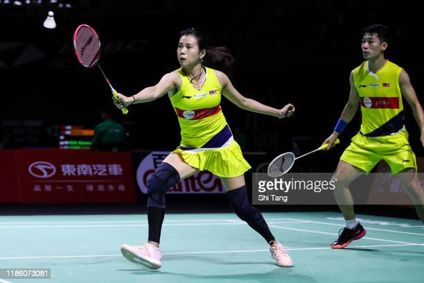 Chan Peng Soon and Goh Liu Ying of Malaysia compete in the Mixed Doubles second round match against Robin Tabeling and Selena Piek of Netherlands on...