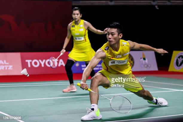 Chan Peng Soon and Goh Liu Ying of Malaysia compete in the Mixed Doubles second round match against Adnan Maulana and Mychelle Crhystine Bandaso of...