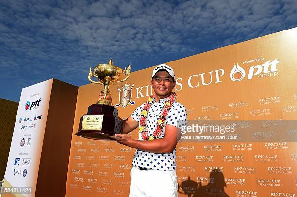 Chan Shih-chang of Chinese Taiepi pictured with the winner's trophy during round four of the King's Cup at Phoenix Gold Golf and Country Club on July...