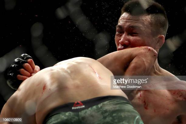 Chan Sung Jung is hit with a knockout elbow from Yair Rodríguez with four seconds left in the fifth and final round to end their Featherweight bout...