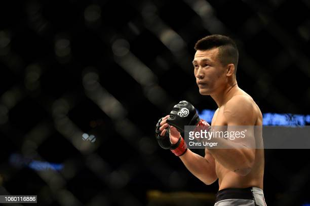 Chan Sung Jung of South Korea faces Yair Rodriguez of Mexico in their featherweight bout during the UFC Fight Night event inside Pepsi Center on...
