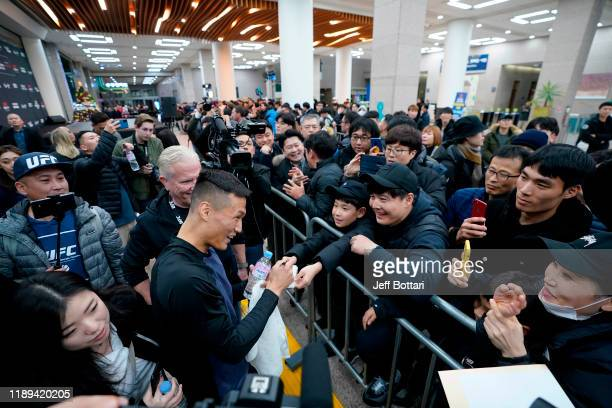 Chan Sung Jung of South Korea holds an open training session for fans and media during the UFC Fight Night Open Workouts at City Hall on December 18...