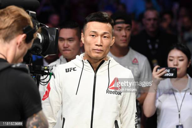 Chan Sung Jung of South Korea prepares to enter the Octagon prior to his featherweight bout against Renato Moicano of Brazil during the UFC Fight...