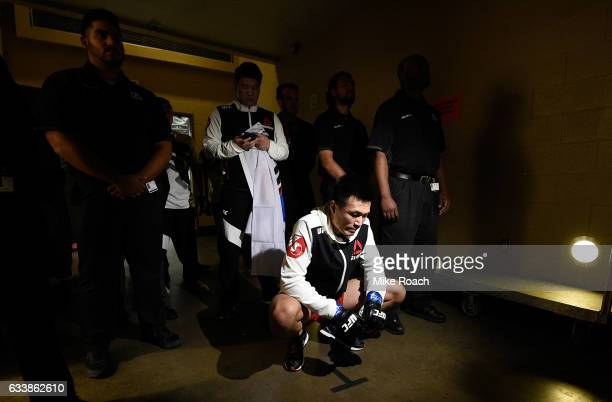Chan Sung Jung of South Korea prepares to walk to the Octagon during the UFC Fight Night event at the Toyota Center on February 4 2017 in Houston...