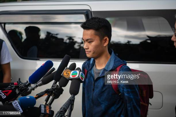 Chan Tongkai talks to the media as he is released from prison on October 23 2019 in Hong Kong China Antigovernment demonstrations in Hong Kong...