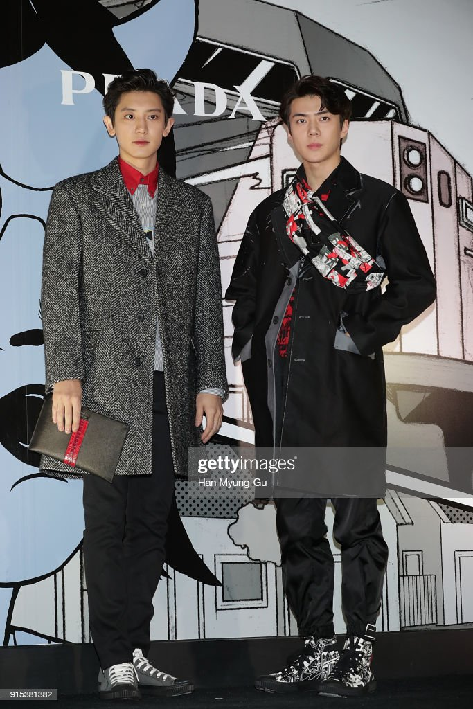 Chan Yeol and Se Hun of boy band EXO-K attend the photocall for the 'PRADA' on February 7, 2018 in Seoul, South Korea.