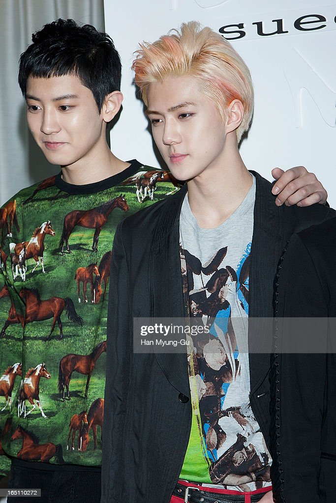 Chan Yeol and Se Hun of South Korean boy band EXO-K attend the 'Suecomma Bonnie' 10th Anniversary Exhibition at Conrad Hotel on March 29, 2013 in Seoul, South Korea.