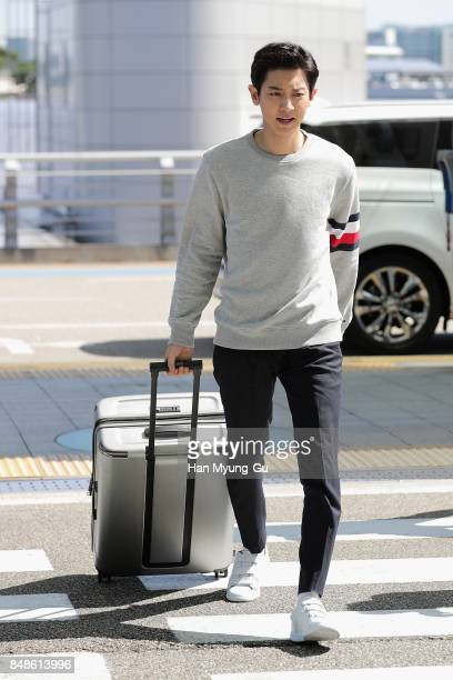Chan Yeol of boy band EXOK is seen on departure at Incheon International Airport on September 17 2017 in Incheon South Korea