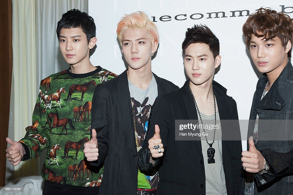 Chan Yeol, Se Hun, Su Ho and Kai of South Korean boy band EXO-K attend the 'Suecomma Bonnie' 10th Anniversary Exhibition at Conrad Hotel on March 29, 2013 in Seoul, South Korea.