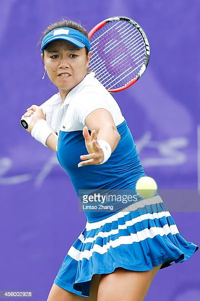 Chan Yung Jan of Chinese Taibei returns a shot during the Women's Team Gold Medal Match against Duan Yingying of China on day five of the 2014 Asian...
