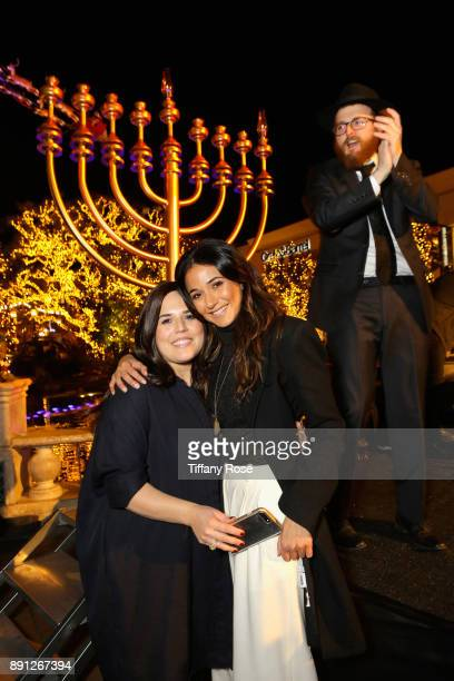 Chana Fogelman Emmanuelle Chriqui and Rabbi Zamy Fogelman at the Village Synagogue and Emmanuelle Chriqui Host Menorah Lighting Ceremony at The Grove...