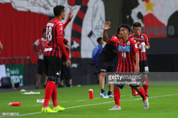 Chanathip Songkrasin of Consadole Sappporo is replaced by Jay Bothroyd during the JLeague J1 match between Consadole Sapporo and Urawa Red Diamonds...
