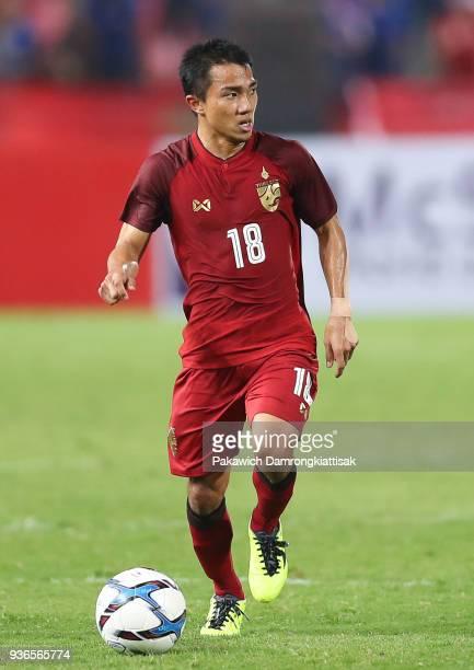 Chanathip Songkrasin of Thailand dribbles the ball during the international friendly match between Thailand and Gabon at Rajamangala National Stadium...