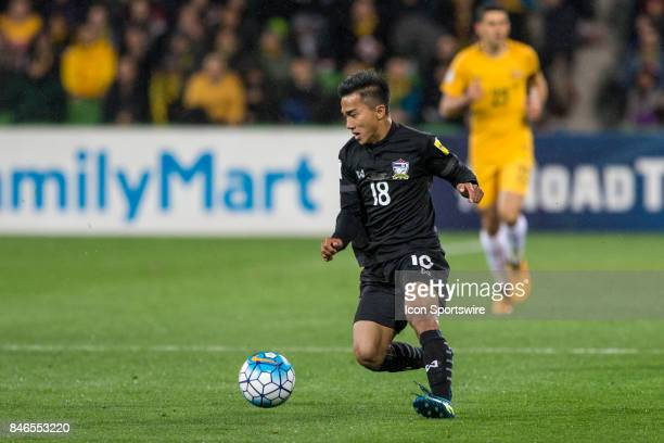 Chanathip Songkrasin of the Thailand National Football Team controls the ball during the FIFA World Cup Qualifier Match Between the Australian...
