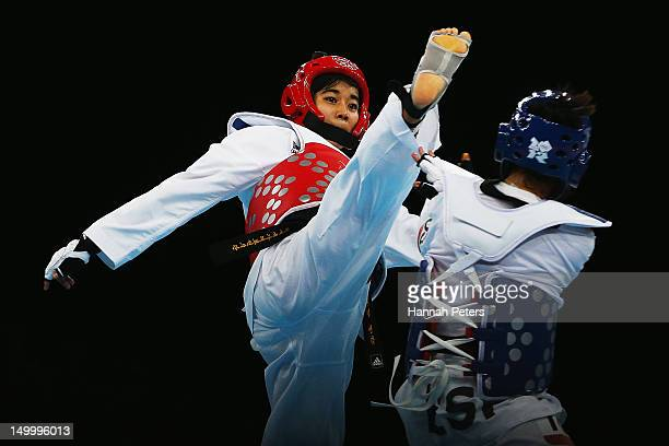 Chanatip Sonkham of Thailand competes against Brigitte Yague Enrique of Spain during the Women 49kg semirfinal Taekwondo match on Day 12 of the...