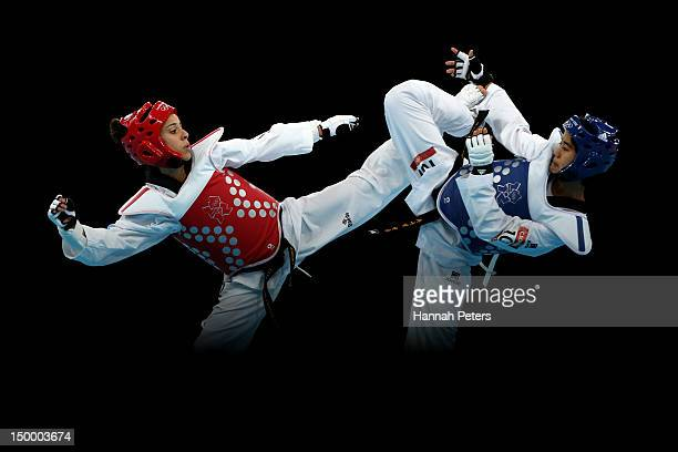 Chanatip Sonkham of Thailand competes against Elizabeth Zamora Gordillo of Guatemala during the Women's 49kg Taekwondo bronze medal match on Day 12...