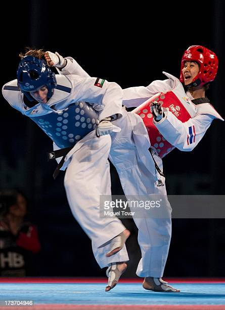 Chanatip Sonkham of Thailand competes with Dana Touran of Jordan the women«s 49 kg final combat of WTF World Taekwondo Championships 2013 at the...