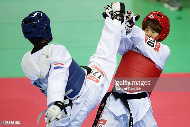 Chanatip Sonkham of Thailand competes with Park Seonah of South Korea in the the women's taekwondo 49kg quarter final on day eleven of the 2014 Asian...