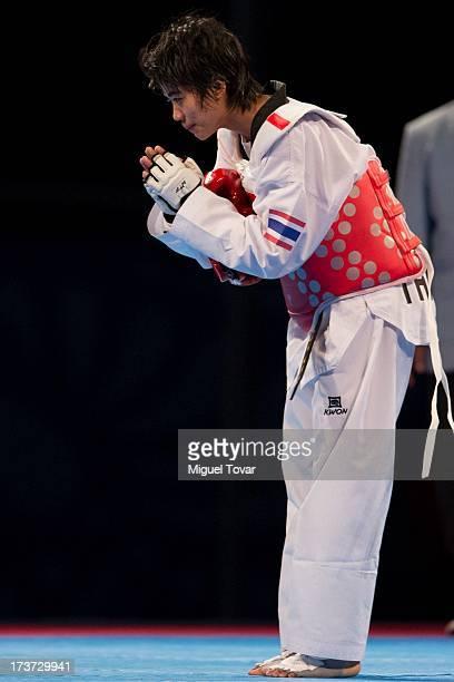 Chanatip Sonkham of Thailand reacts after winning against Dana Touran of Jordan the women«s 49 kg final combat of WTF World Taekwondo Championships...