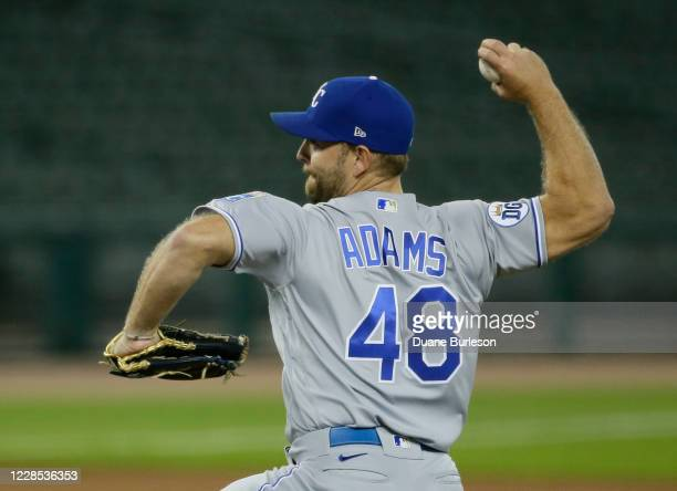 Chance Adams of the Kansas City Royals pitches against the Detroit Tigers during the seventh inning at Comerica Park on September 15 in Detroit,...