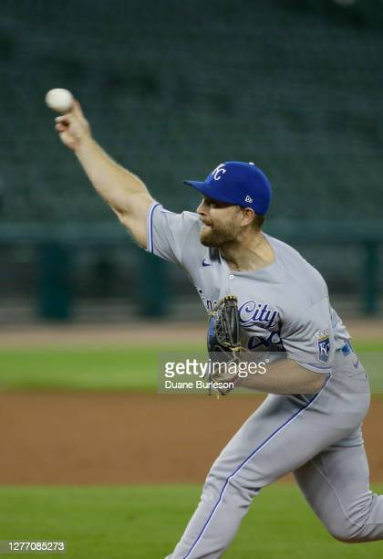 Chance Adams of the Kansas City Royals pitches against the Detroit Tigers at Comerica Park on September 15 in Detroit, Michigan.