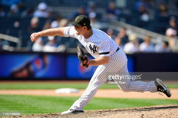 Chance Adams of the New York Yankees delivers the pitch against the Tampa Bay Rays at Yankee Stadium on May 19, 2019 in New York City.
