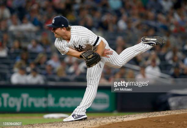 Chance Adams of the New York Yankees in action against the Boston Red Sox at Yankee Stadium on August 03, 2019 in New York City. The Yankees defeated...