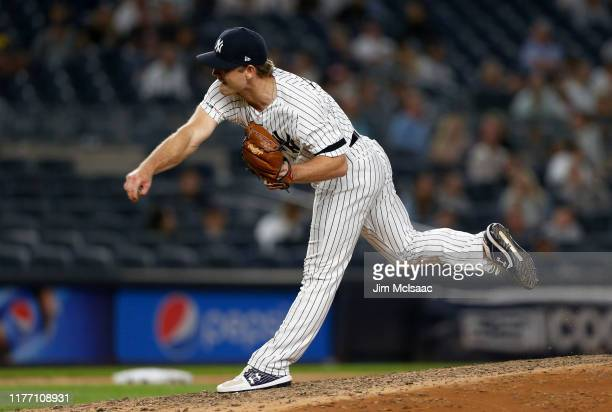 Chance Adams of the New York Yankees in action against the Los Angeles Angels of Anaheim at Yankee Stadium on September 17, 2019 in New York City....