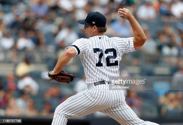 Chance Adams of the New York Yankees in action against the Oakland Athletics at Yankee Stadium on September 01, 2019 in New York City. The Yankees...