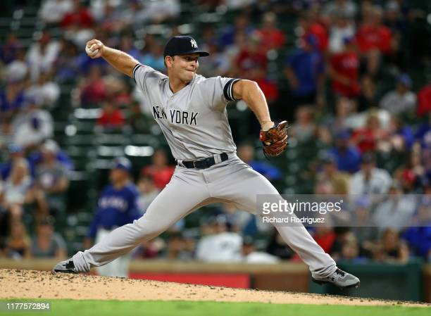 Chance Adams of the New York Yankees pitches in the ninth inning against the Texas Rangers at Globe Life Park in Arlington on September 27, 2019 in...