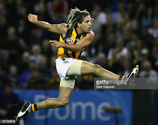 Chance Bateman for the Hawks in action during the AFL Round 6 match between the Carlton Blues and the Hawthorn Hawks at Telstra Dome April 29 2005 in...