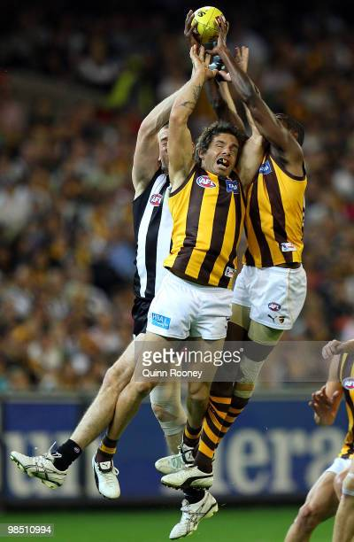Chance Bateman of the Hawks attempts to mark during the round four AFL match between the Collingwood Magpies and the Hawthorn Hawks at Melbourne...
