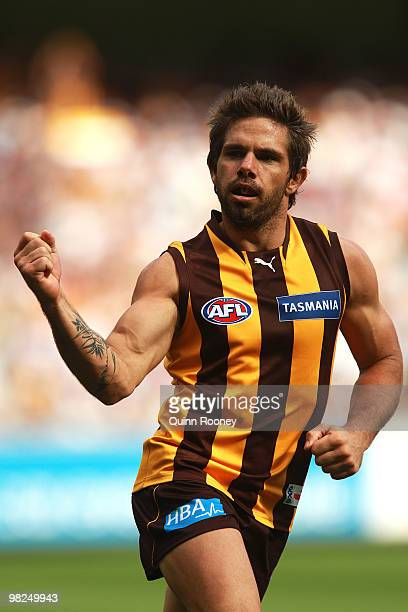 Chance Bateman of the Hawks celebrates a goals during the round two AFL match between the Hawthorn Hawks and the Geelong Cats at Melbourne Cricket...