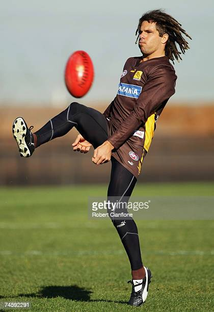 Chance Bateman of the Hawks in action during the Hawthorn Hawks AFL training session at Waverley Park June 14 2007 in Melbourne Australia