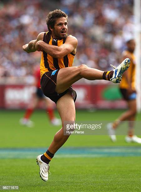 Chance Bateman of the Hawks kicks during the round two AFL match between the Hawthorn Hawks and the Geelong Cats at Melbourne Cricket Ground on April...