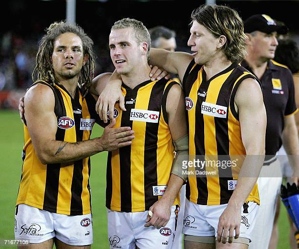 Chance Bateman Rick Ladson and Joel Smith of the Hawks celebrate after victory in the round 20 AFL match between the Essendon Bombers and the...