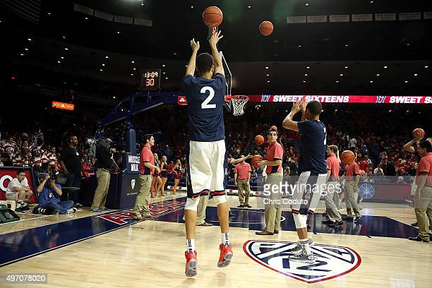 Chance Comanche of the Arizona Wildcats takes a shot during warm ups before the college basketball game against the Pacific Tigers at McKale Center...