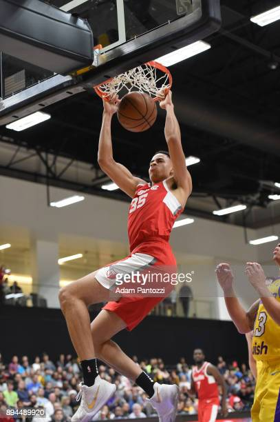 Chance Comanche of the Memphis Hustle dunks the ball against South Bay Lakers during an NBA GLeague game on December 17 2017 at UCLA Heath Training...