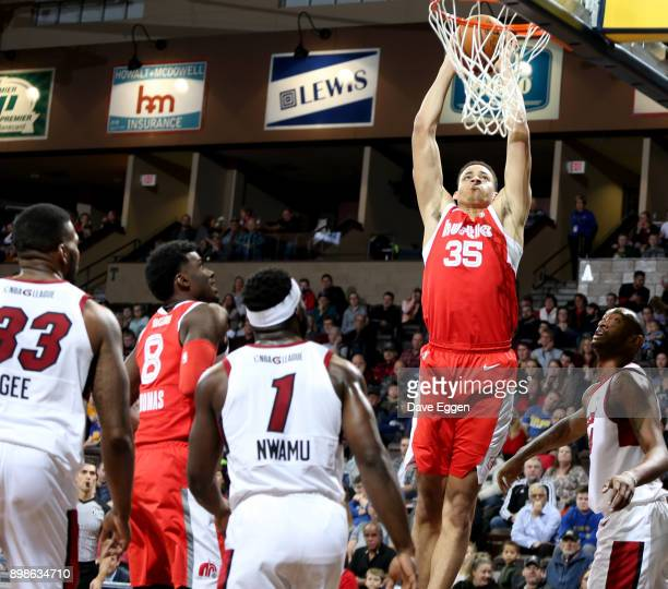 Chance Comanche of the Memphis Hustle slams home two points against the Sioux Falls Skyforce during an NBA GLeague game on December 25 2017 at the...